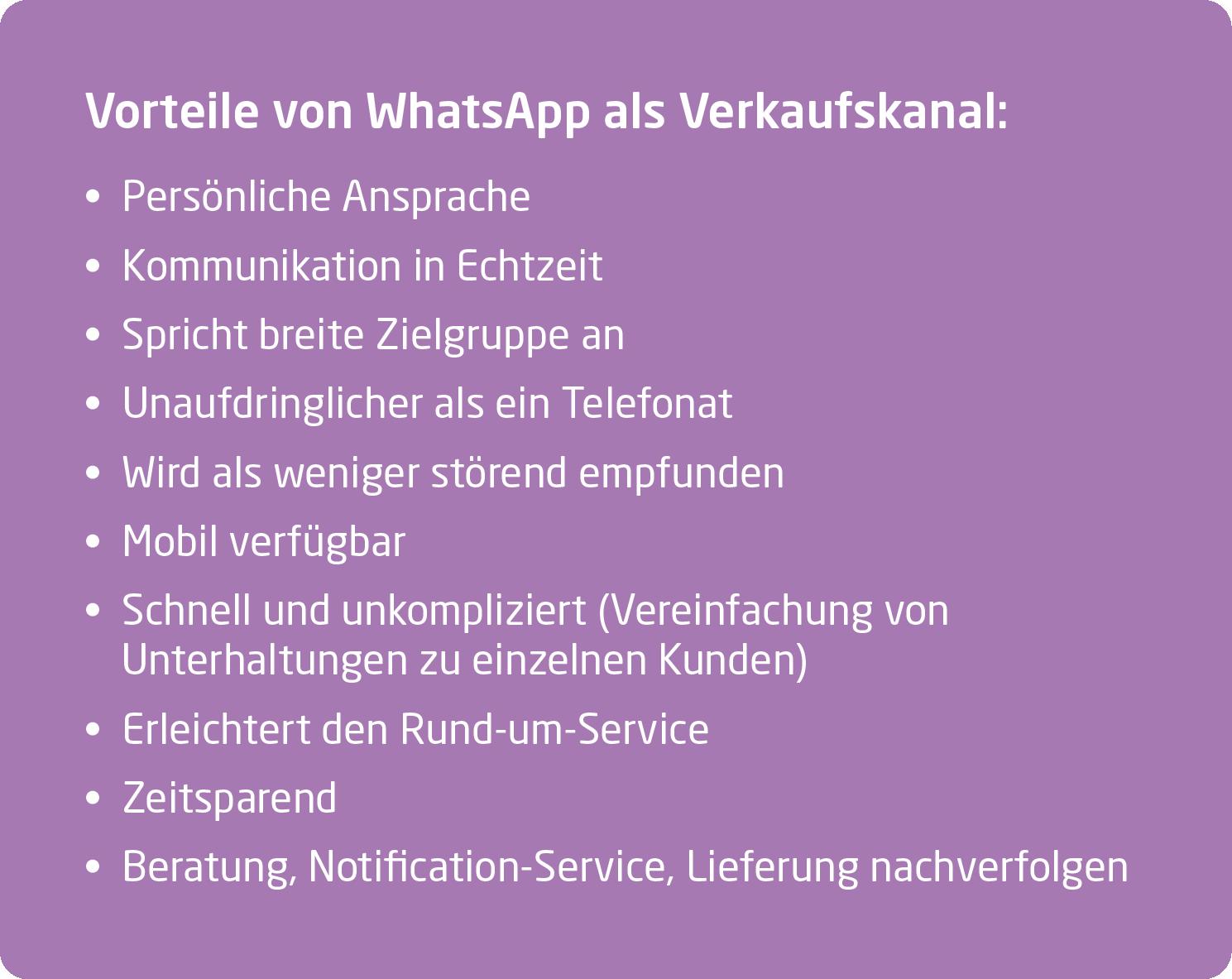 Vorteile WhatsApp als Verkaufskanal